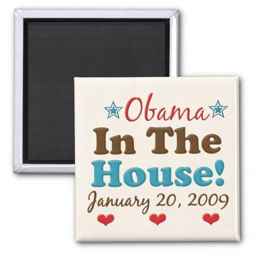 Obama en el imán del cuadrado de la casa