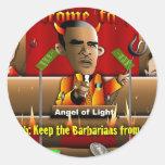 Obama en infierno etiquetas redondas