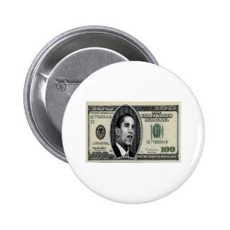 Obama en la cuenta $100 pin redondo 5 cm