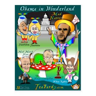Obama en tarjeta del país de las maravillas postal