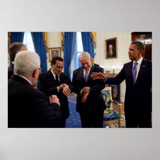 Obama encuentra Netanyahu y a Mubarak en Casa Blan Póster