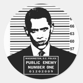 Obama - enemigo público número uno pegatina redonda