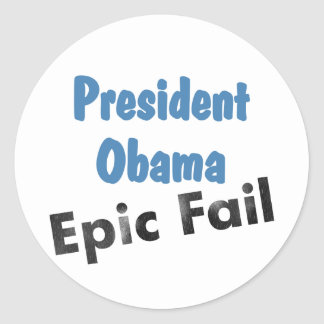 Obama epic fail classic round sticker