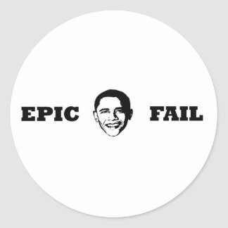 Obama- Epic Fail Classic Round Sticker