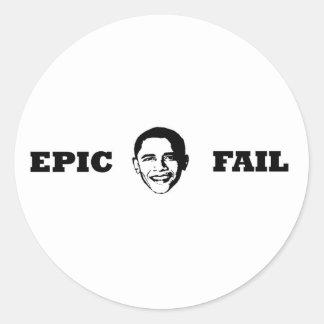 Obama- Epic Fail Classic Round Sticker