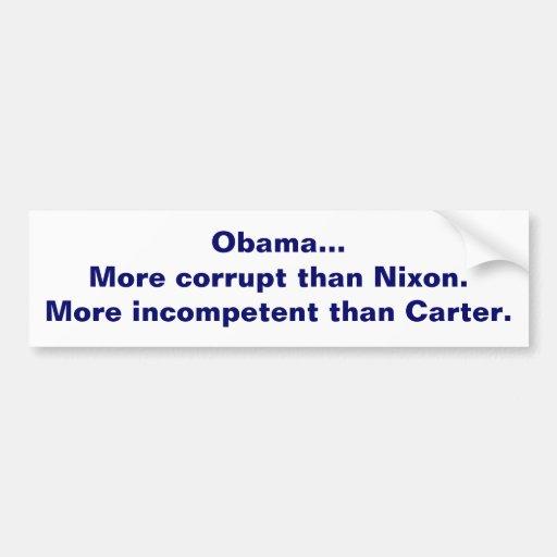 Obama es corrupto e incompetente pegatina para auto