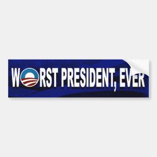Obama es el presidente peor, nunca (Bumpersticker) Pegatina Para Auto