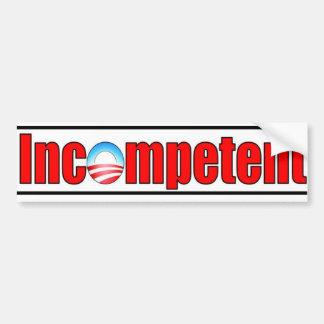 Obama es incompetente pegatina para auto