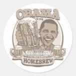 Obama es mi brew casero por Buttonzup Etiquetas Redondas