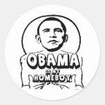 Obama es mi homeboy etiqueta redonda
