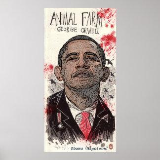 """Obama es Napoleon en la granja """""""" de George Orwell Posters"""