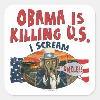 Obama está matando a los E.E.U.U. Pegatina Cuadrada