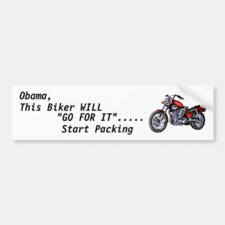 """Obama, este motorista, """"VA PARA ÉL""""… Pegatina Para Auto"""
