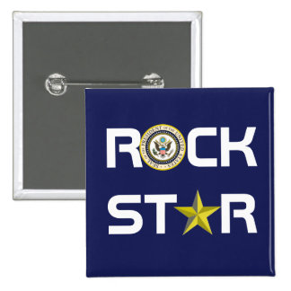 Obama - estrella del rock pin cuadrado