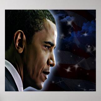 Obama-Estrellas y rayas Poster
