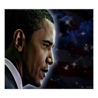 Obama-Estrellas y rayas Póster