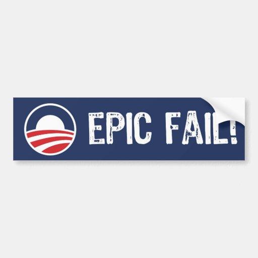 ¡Obama, fall épico! Pegatina para el parachoques Etiqueta De Parachoque