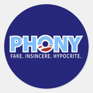 Obama falso pegatinas redondas