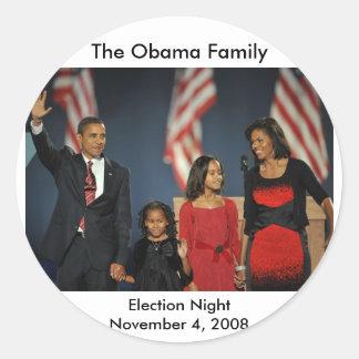 Obama Family Election Night Classic Round Sticker