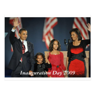obama & Family election night  postcard