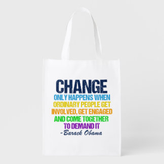 Obama Farewell Speech Quote on Change Grocery Bag