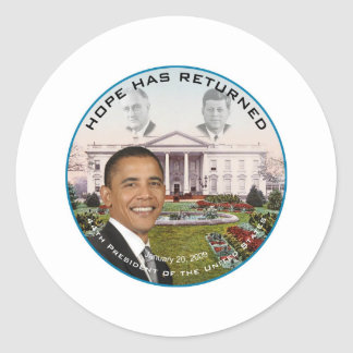 Obama FDR JFK Hope Has Returned Jan 20, 2009 Classic Round Sticker