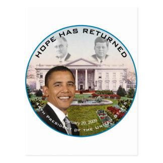 Obama FDR JFK Hope Has Returned Jan 20, 2009 Postcard