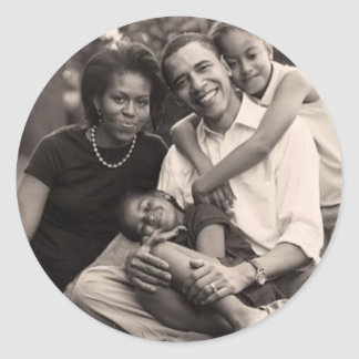 Obama-First Family Round Stickers