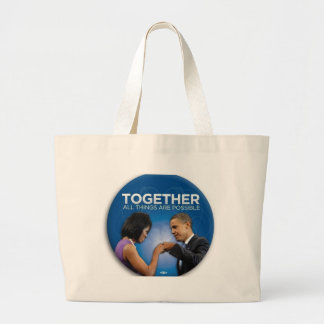 obama fist bump large tote bag