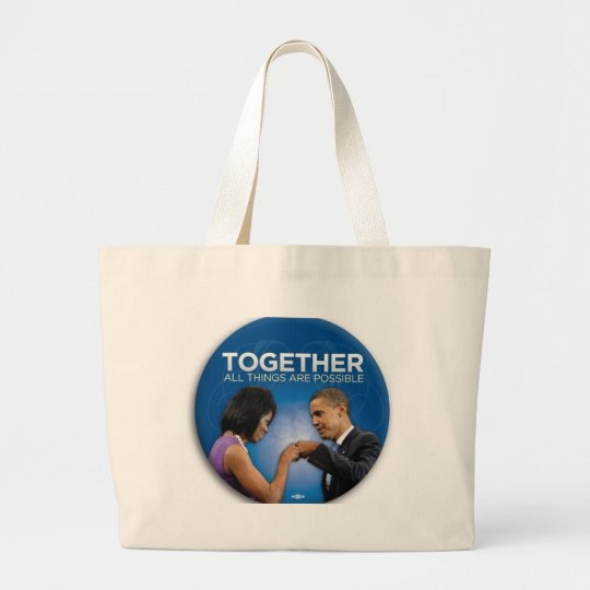 obama fist bump large tote bag