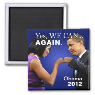 Obama Fist Bump - yes we can again 2 Inch Square Magnet