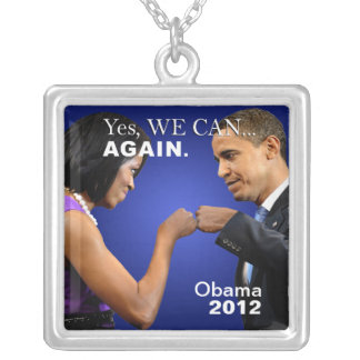 Obama Fist Bump - yes we can again Square Pendant Necklace