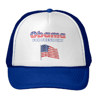 Obama for President Patriotic American Flag Trucker Hat