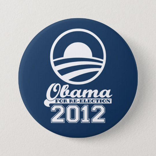 OBAMA For Re-Election Campaign Button 2012 (navy)