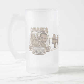 Obama Four More Beers Frosted Glass Beer Mug