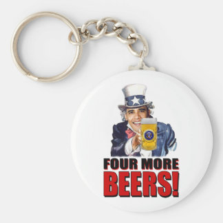 Obama - Four More Beers Keychain