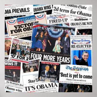 Obama gana el collage 2012 del periódico de Front  Poster