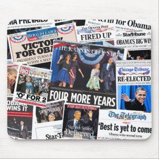 Obama gana el collage de Front Page de la reelecci Mouse Pads