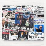 Obama gana el collage de Front Page de la reelecci Tapetes De Raton