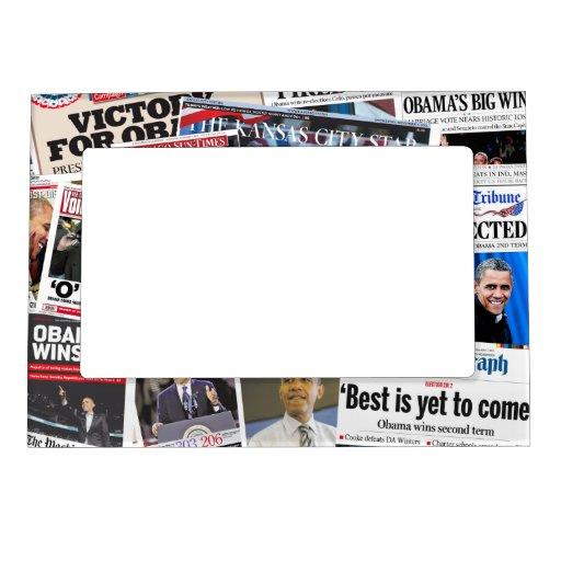 Obama gana el marco del imán del periódico de la r marcos magnéticos de fotos