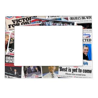 Obama gana el marco del imán del periódico de la r marcos magneticos de fotos