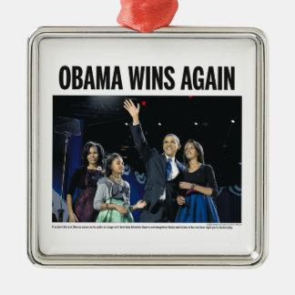 Obama gana otra vez el ornamento del árbol de adorno navideño cuadrado de metal