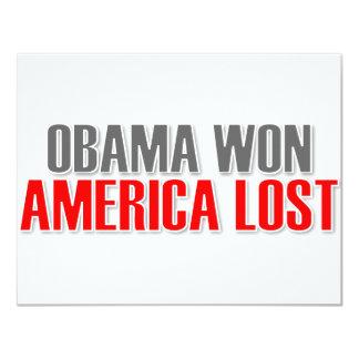 "Obama ganó América perdida Invitación 4.25"" X 5.5"""