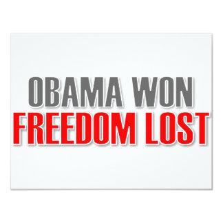 """Obama ganó la libertad perdida invitación 4.25"""" x 5.5"""""""