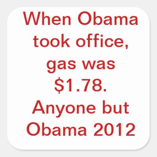 Obama Gas Price Square Sticker
