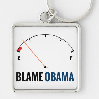 Obama Gas Prices Silver-Colored Square Keychain
