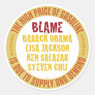 Obama Gasoline Classic Round Sticker