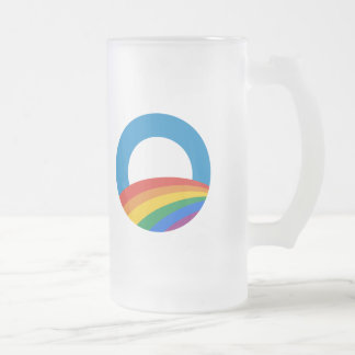 Obama Gay Pride 16 Oz Frosted Glass Beer Mug
