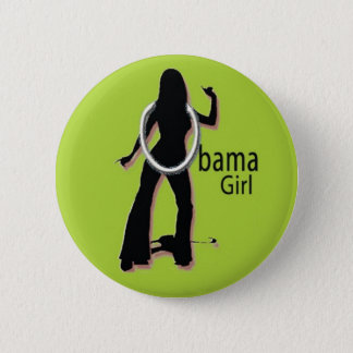 OBAMA GIRL GROOVY GREEN BUTTON
