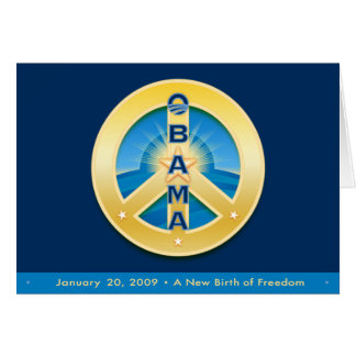 Obama GoldStar Peace, 1-20-09 Card, on Royal Blue Greeting Card